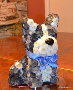 FlowerToy Boston Terrier Dog made from fresh flowers