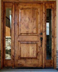 Knotty Alder Front Entry Door X Classic design with two full sidelights front door Entry Door With Sidelights, Entry Doors, Entry Wall, Sliding Doors, Knotty Alder Doors, Brick Molding, Tuscan Design, The Doors, Panel Doors