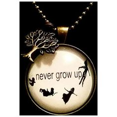 Never grow up Peter Pan Disney quote pendant on bronze chain necklace... ($19) ❤ liked on Polyvore featuring jewelry, hand crafted jewelry, bronze mini pendant, charm pendant, mini charms and handcrafted jewellery