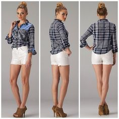 Chambray Accent Plaid Button Shirt Quarter sleeve buttoned plaid shirt has denim chambray accents with pockets. Sizes S-L available. Let me know and I will make a separate listing. Tops