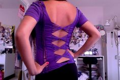 Cut Up T Shirt: 3 Columns On Back With Weaving And Bows