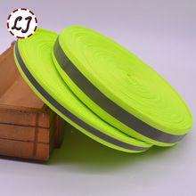 Nueva 5yd/lot Fluorescente Verde Reflectante Cinta De Tela Cinta Cinta Tira Ribete Braid Recorte de Coser En La Cinta accesorios de la ropa DIY(China (Mainland))