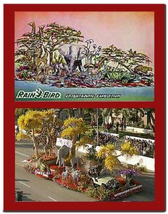 The days I was in the trees!!  Rain Bird Parade Float Designed By Fiesta Parade Floats