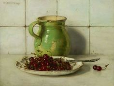 Jan Bogaerts Still Life with Cherries and Stoneware 1937
