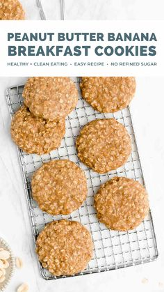 This healthy peanut butter banana oatmeal breakfast cookies recipe is AMAZING!! These breakfast cookies are easy to make, soft & chewy, and great for kids. (Adults too!) The banana replaces the eggs, so they're vegan, dairy free, clean eating, and low calorie - with a great gluten free option too! We LOVE these breakfast cookies! Healthy breakfast cookies clean eating. Peanut butter banana cookies vegan. Healthy oatmeal breakfast cookies gluten free. Peanut butter banana oat breakfast cookies. Easy Cookie Recipes, Baking Recipes, Dessert Recipes, Desserts, Oatmeal Breakfast Cookies, Breakfast Cookie Recipe, Peanut Butter Banana Cookies, Healthy Peanut Butter, Healthy Crisps