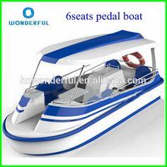 Nuevo clásico del diseño del coche del pedal 4 persona de fibra de vidrio eléctrico del barco del pedal