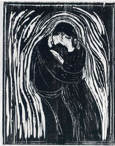 Edvard Munch Woodcuts | Edvard Munch The Kiss Woodcut