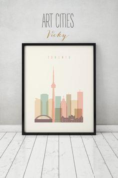 skyline de Toronto, ville affiche typographie art, décoration, impression numérique, ART PRINTS VICKY.