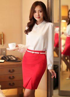 Gorgeous Blouse from Styleonme. Korean Fashion, Women Fashion, Feminine Look… Fashion 2017, Girl Fashion, Fashion Outfits, Fashion Women, Fashion Advice, Fashion Trends, Look Office, Office Looks, Office Wear