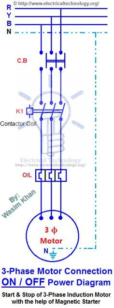 on off three phase motor connection power control diagrams rh pinterest com 3 Phase Generator Wiring 3 Phase Converter Wiring