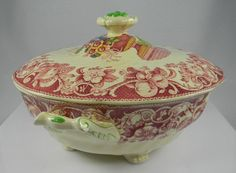 Vintage Red Transferware Polychrome Footed Soup Tureen  / Covered Casserole Royal Doulton Pomeroy Urn with Flowers