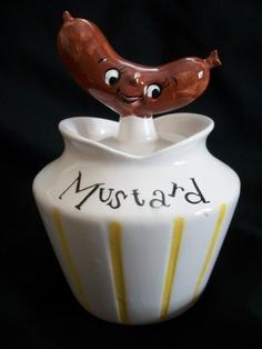 VINTAGE 1950s LEFTON HOLT HOWARD HOT DOG PIXIEWARE MUSTARD CONDIMENT JAR