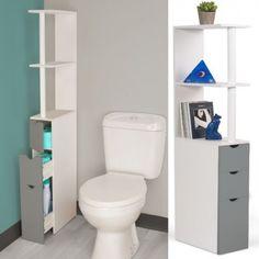 Meuble WC étagère bois 3 portes gris gain de place pour toilettes