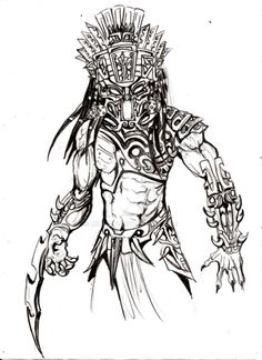 predator colour by darkartistdomain on DeviantArt Wolf Predator, Predator Alien, Aliens, Predator Cosplay, Human Sketch, Alien Races, Cartoon Tattoos, Tattoo Design Drawings, Fantasy Warrior