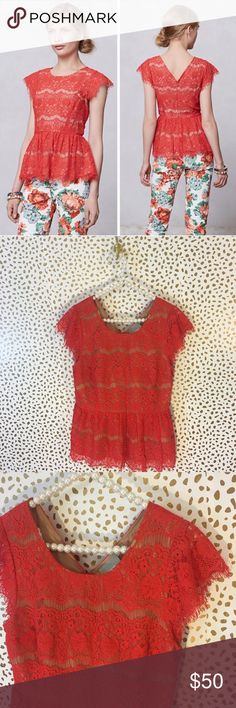 SALE💓Anthropologie Maeve Orange Lace Peplum Top So cute and perfect dressed up or down! Excellent pre owned condition, no flaws. Red orange lace. Back zip. Size large. No trades!! Anthropologie Tops Blouses