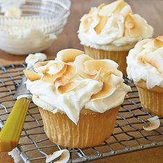 Coconut Cupcakes with Coconut-Cream Cheese Frosting.