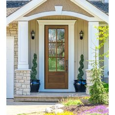 Knockety Ready to Install Mahogany Wood Slab Front Entry Door Door Size: H x W x D, Finish: Owl Gray/Clear Glass Craftsman Front Doors, Wood Front Doors, Front Door Colors, Glass Front Door, Front Door Decor, Sliding Glass Door, Front Door Overhang, Front Door Porch, Cottage Style Front Doors