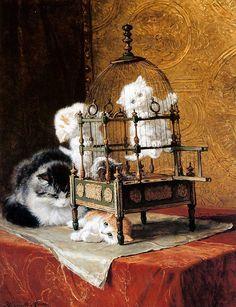 Kittens on the birdcage |Henriette Ronner-Knip