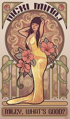 Miley, what's good? Alphonse Mucha, Nicki Minaj Drawing, Nicki Minaj Cartoon, Miley Whats Good, Nicki Minaj Wallpaper, Nicki Minaj Pictures, Trill Art, Art Nouveau, Art Anime