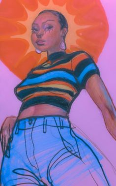 Indie Drawings, Art Drawings Sketches, Cool Drawings, Black Girl Art, Art Girl, Pretty Art, Cute Art, Arte Punch, Art Et Design