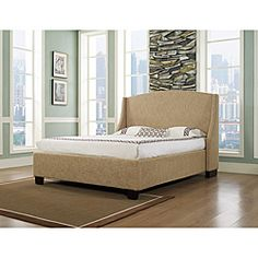 @Overstock.com - This elegant bed features a clean, arched silhouette headboard embellished with side wings and handmade, nickel-brushed individual nail heads. Complete the look of any bedroom with this fabric upholstered Oxford-X bed.   http://www.overstock.com/Home-Garden/Oxford-X-Eastern-King-size-Almond-Fabric-Bed/6477583/product.html?CID=214117 $1,072.69