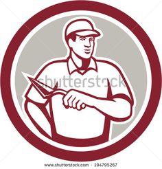 Illustration of a tiler plasterer mason masonry construction worker with trowel done set inside circle done in retro style.  - stock vector #plasterer #retro #illustration