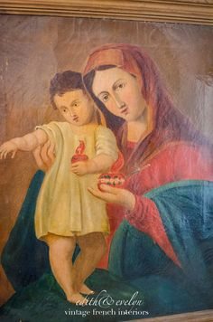 Antique Oil Painting Madonna and Christ Child by edithandevelyn