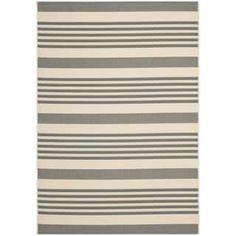 Safavieh Courtyard Stripe Grey/ Bone Indoor/ Outdoor Rug | Overstock.com Shopping - The Best Deals on 3x5 - 4x6 Rugs