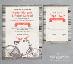 Vintage Retro Bicycle and Love Birds Printable by OnlybyInvite, $15.00