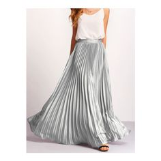 SheIn(sheinside) Silver Zipper Side Pleated Flare Maxi Skirt ($30) ❤ liked on Polyvore featuring skirts, silver, floor length skirts, long skirts, floor length maxi skirt, long pleated maxi skirt and silver pleated skirt