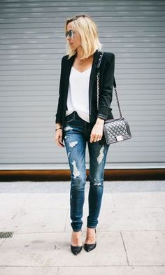 Look Jeans Rasgado Chic: Blazer