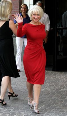 Helen Mirren. Wow!  I love red and I love the dress.  Maybe make it a little looser so it is not so revealing.