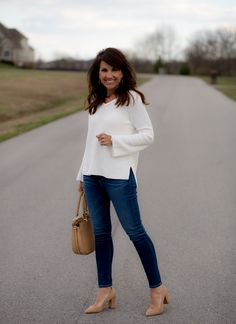 When In Doubt Wear Neutral - Cyndi Spivey When In Doubt Wear Neutral. This white sweater and dark denim jeans with neutral pumps is perfect for a cool spring day. By Cyndi Spivey # 50 Fashion, Fashion Over 40, Work Fashion, Autumn Fashion, Fashion Outfits, Womens Fashion, Fashion Trends, Fashion Styles, Fashion Vintage