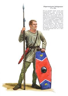 Elbgermanic follower 17 AD  He is already equipped with a lance set consisting of a thrusting lance and a spear (F.O. Putensen, grave 141). In addition, he is equipped with a single-edged slashing sword in an iron-studded wooden sheath (F. O. Hamburg-Langenbek). His hexagonal shield is based on a find from a Semnonian grave near Wachow / Brandenburg. The arrangement of the shield boss nails in pairs did not occur until the Tiberian period.