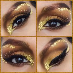 A closer look at my latest Halloween makeup tutorial using Makeup Geek Vegas lights palette and pigments that came with the palette- a golden goddess! Link of my youtube is on my bio, enjoy! :) #halloween #makeup #beauty #gold #goldengoddess #halloweenideas #youtube #makeupgeek #eyeshadow