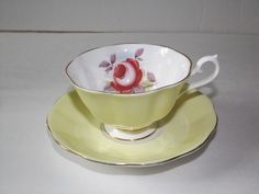 Vintage Yellow Royal Albert Tea Cup and Saucer   eBay