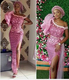 Enchanting aso ebi styles that will inspire you - Opera News Official African Lace Styles, African Lace Dresses, African Fashion Dresses, African Clothes, Ankara Fashion, Lace Dress Styles, Pink Prom Dresses, Nice Dresses, African Print Fashion