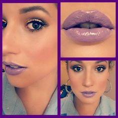 I love this make-up look! Lavendar lips and metallic eyeshadow... amazing :D