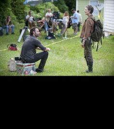'The Walking Dead': Behind The Scenes Candids | Andrew Lincoln and Melissa McBride chat on the set of 'The Walking Dead,' Season 4