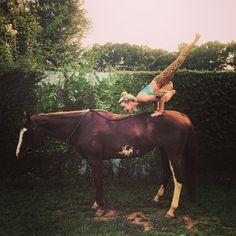 Yoga on horseback, horse yoga, bareback yoga, Acro/Partner Yoga taken in Newnan, ga, United States by Sara Sektnan