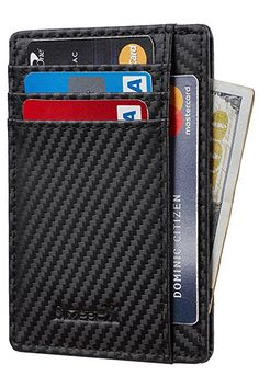 95318160b803 Buy Slim Wallet RFID Front Pocket Wallet Minimalist Secure Thin Credit Card  Holder - 01 Carbon Leather Black - and More Discount Card & ID Cases Sale  up to ...