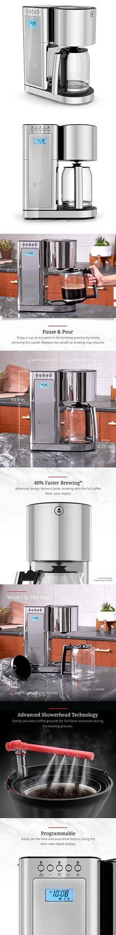 Russell Hobbs Glass Series 8-Cup Coffeemaker, Silver & Stainless Steel, CM8100GYR Coffee Machines, Coffeemaker, Hobbs, Stainless Steel, Glass, Silver, Coffee Pod Machines, Drinkware, Money