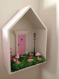 Kmart house box turned fairy garden