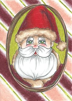 Whimsical Christmas Holiday Peppermint Candy Stripe Santa  - OOAK Original ACEO #Miniature