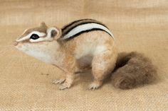 Kit the Chipmunk: Needle felted animal sculpture by Megan Nedds of The Woolen Wagon