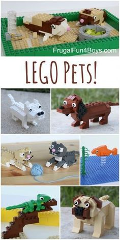 LEGO Pets! Building instructions for dogs, cats, guinea pigs, lizards, and more!