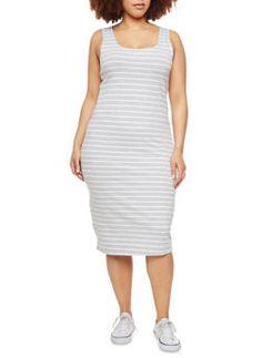 Plus Size Striped Midi Tank Dress,HEATHER