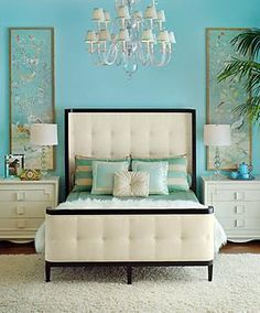 Such pretty colors. I'd love a cream and teal bedroom.