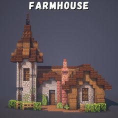I Built a Farmhouse :): Minecraftbuilds Minecraft Cottage, Minecraft Houses Survival, Cute Minecraft Houses, Minecraft Plans, Minecraft House Designs, Amazing Minecraft, Minecraft Blueprints, Minecraft Creations, Minecraft Crafts