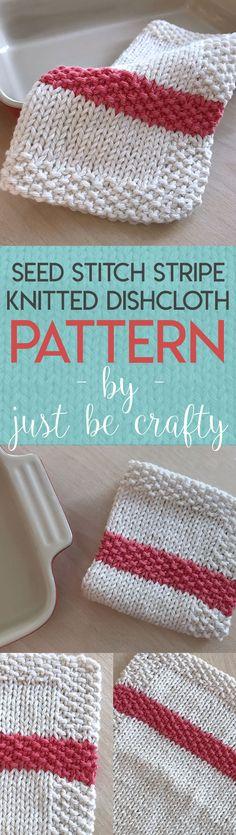 Seed Stitch Stipe Dishcloth Pattern – free knitting pattern by Just Be Crafty